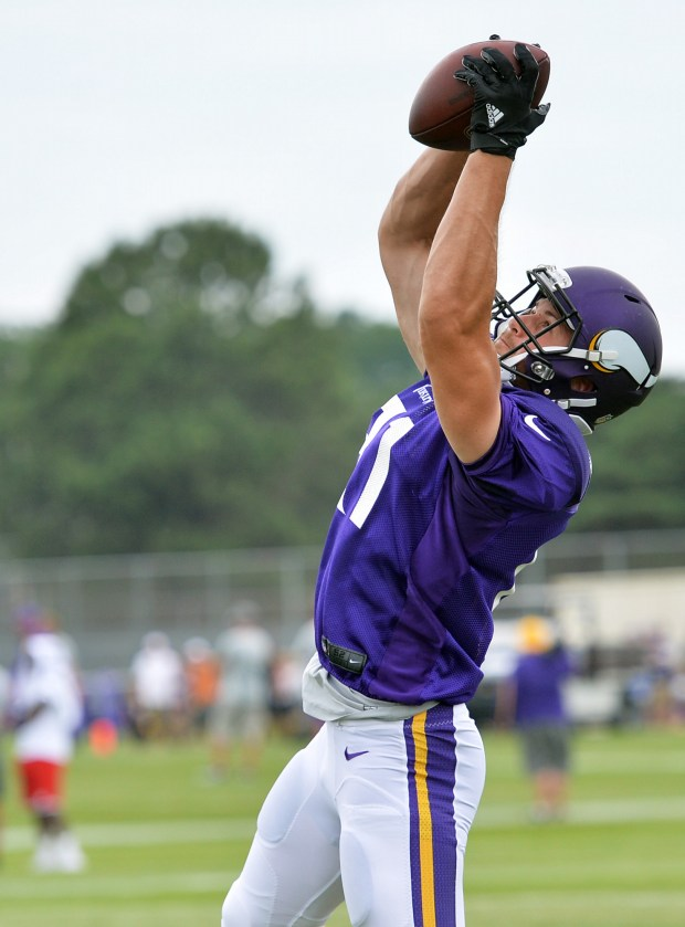 Minnesota Vikings wide receiver Moritz Böhringer reaches up to catch a pass in the afternoon workout at the team's training camp at Minnesota State University in Mankato on Monday, August 1, 2016. (Pioneer Press: John Autey)