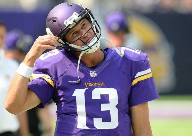 Minnesota Vikings quarterback Shaun Hill snaps his helmet as he walks the sidelines in the fourth quarter at U.S. Bank Stadium on Sunday, August 28, 2016. (Pioneer Press: John Autey)
