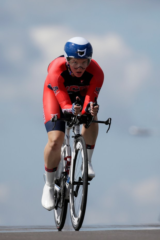 United States' Kelly Catlin pedals during the women's individual time trial cycling competition at the Pan Am Games in Milton, Ontario, Wednesday, July 22, 2015. Catlin won the gold medal in the event. (AP Photo/Felipe Dana)