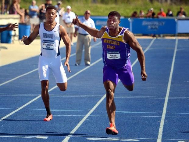 Emmanuel Matadi, right, competing for Minnesota State University, Mankato in 2015. (Courtesy of Minnesota State Athletics)