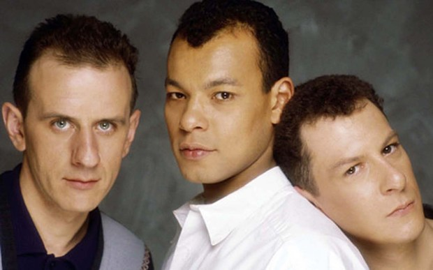 Bassist (left) David Steele of Fine Young Cannibals is 56. Members of the music band are Roland Gift (middle), and Andy Cox. (Courtesy of snipview.com)
