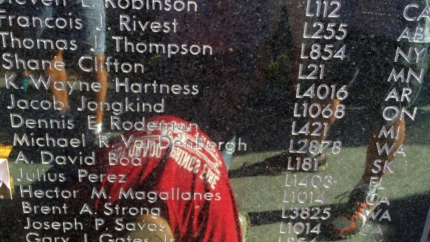 St. Paul firefighter Shane Clifton's name is etched on the International Association of Fire Fighters Fallen Fire Fighter Memorial Wall of Honor in Colorado Springs, Colo. (Courtesy photo)