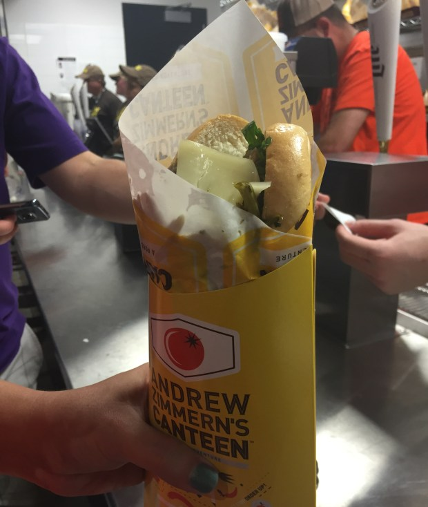 Roasted pork and provolone hoagie at AZ Canteen on the third level of U.S. Bank Stadium shown on Sept. 8, 2016. (Pioneer Press: Nancy Ngo)
