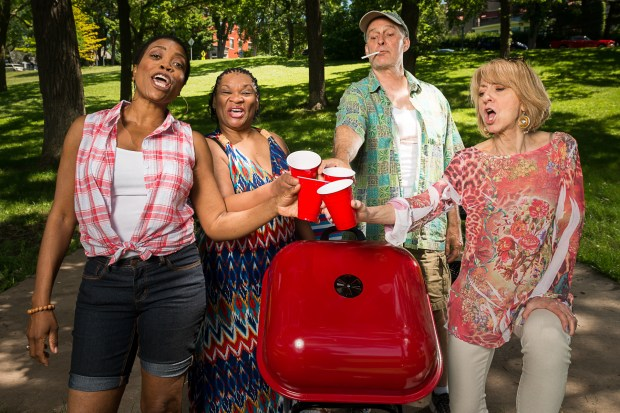 """A """"Barbecue"""" takes a disastrous turn in Mixed Blood Theatre's dark comedy, featuring, from left, Regina Marie Williams, Jevetta Steele, Stephen Yoakam and Sue Scott. (Rich Ryan)"""