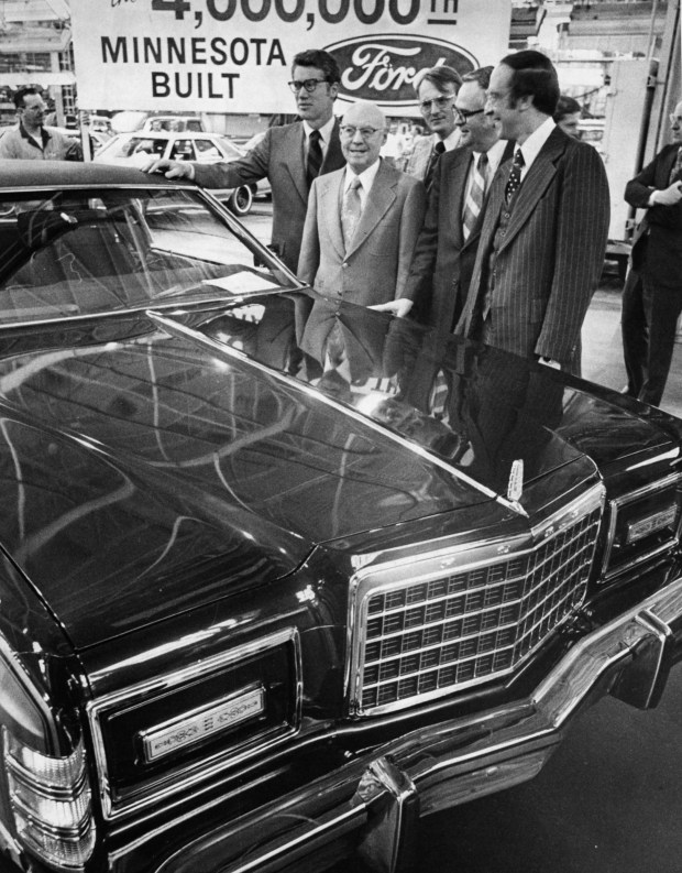 The four millionth Minnesota-built Ford--a two door LTD Landau--rolls off the assembly line at the company's Twin Cites plant in St. Paul. Present for the ceremony were, from left: Gov. Wendell Anderson, St. Cloud Ford dealer D. S. Tenvoorde, State Rep. Ronald Sieloff, State Sen. Joseph O'Neill and St. Paul Mayor Larry Cohen. (Pioneer Press file photo)
