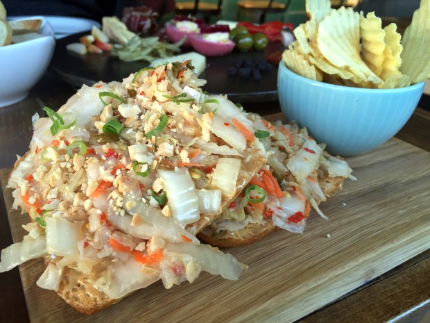 Peanut butter and kimchi open-faced sandwich at Gyst Fermentation Bar (Pioneer Press: Nancy Ngo)
