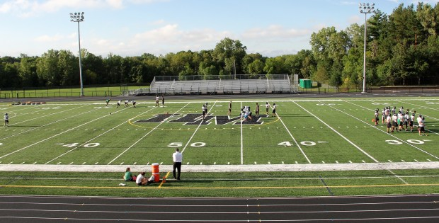 Pictured on Wednesday, Sept. 7, 2016, Hill-Murray's Mary, Queen of Victory, Stadium features a new track and artificial turf field after a $3.5 million renovation. The Pioneers will first play on the field against Hastings on Sept. 16. (Pioneer Press: Jace Frederick)