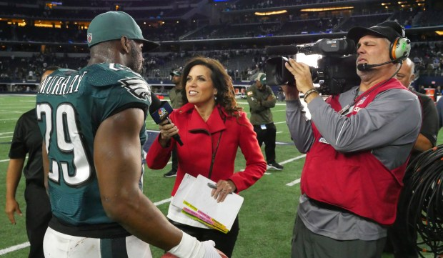 Michele Tafoya interviews Philadelphia running back DeMarco Murray after the Eagles' victory over the Dallas Cowboys on Nov. 8, 2015, in Arlington, Texas. (Photo ctsy: NBC Sports Group)