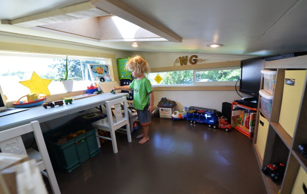 Two-and-a-half-year-old Wyatt plays in his play room in the Gerde family's tiny home in the south metro on Saturday, Aug. 13, 2016. (Pioneer Press: John Autey)