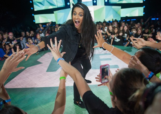 Lilly Singh, a comedian and YouTube sensation, takes the stage during WE Day at Xcel Energy Center on Tuesday, Sept. 20, 2016. (Special to the Pioneer Press: Craig Lassig)
