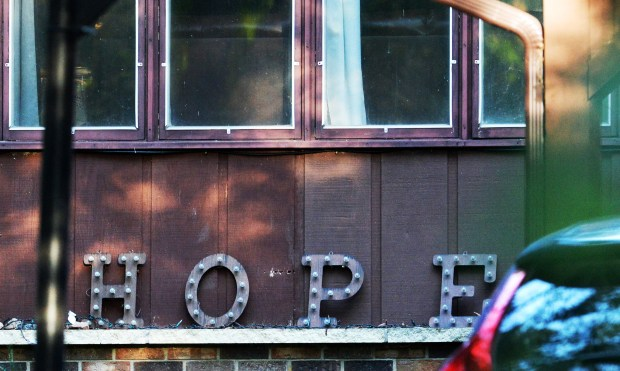 """The """"Hope"""" sign at the Wetterling home is no longer lit after his remains were discovered in central Minnesota. Photographed on Saturday, September 3, 2016. (Pioneer Press: John Autey)"""
