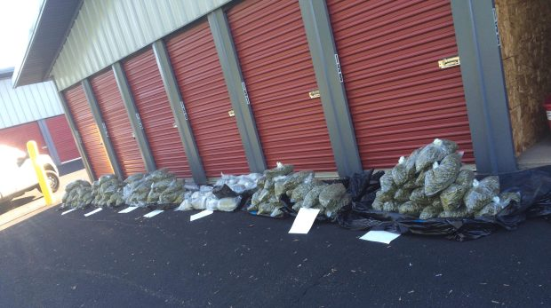Authorities unloaded more than 134 pounds of suspected marijuana after executing a search warrant Sept. 8, 2016, at a storage unit in Houlton, Wis. (St. Croix County sheriff's office via Forum News Service)