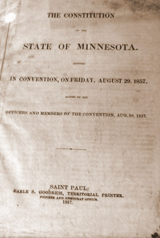Cover of the first printing of the Minnesota Constitution, 1857
