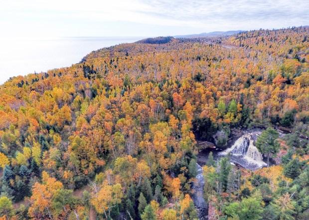 The Manitou River tumbles over a waterfall below Minnesota 61 near Little Marais on Minnesota's North Shore. (Cory Fechner via Forum News Service)