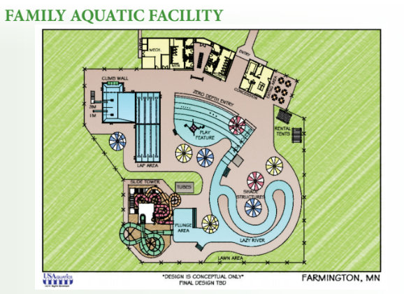 A plan for the proposed outdoor aquatic facility. (Courtesy of city of Farmington)