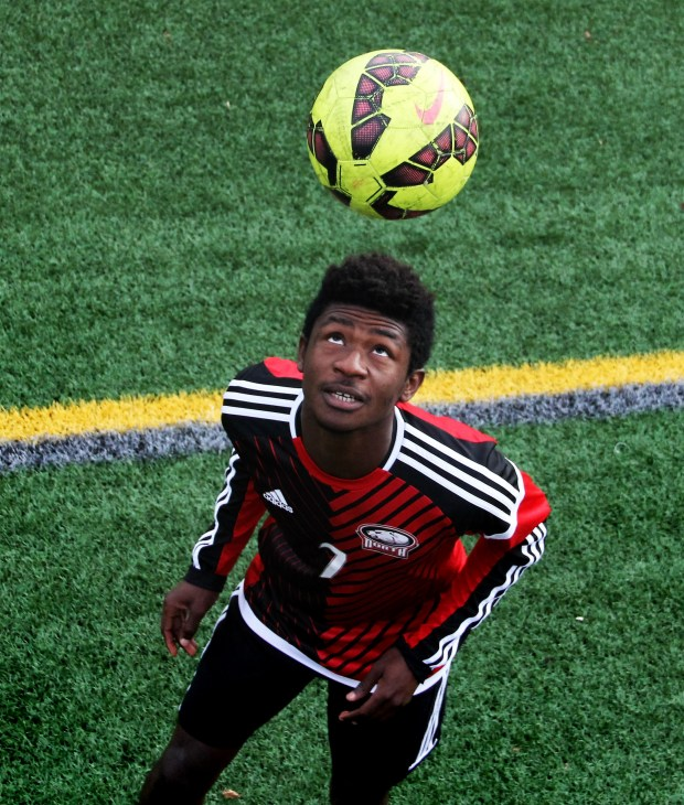 North St. Paul junior forward Ata Claremond has always been a deadly scorer, but he also had a massive improvement in his assist numbers from his sophomore season. Photographed at North St. Paul High School on Thursday, Oct. 27, 2016, Ata Claremond is the Pioneer Press East Metro boys soccer Player of the Year. (Pioneer Press: Jace Frederick)