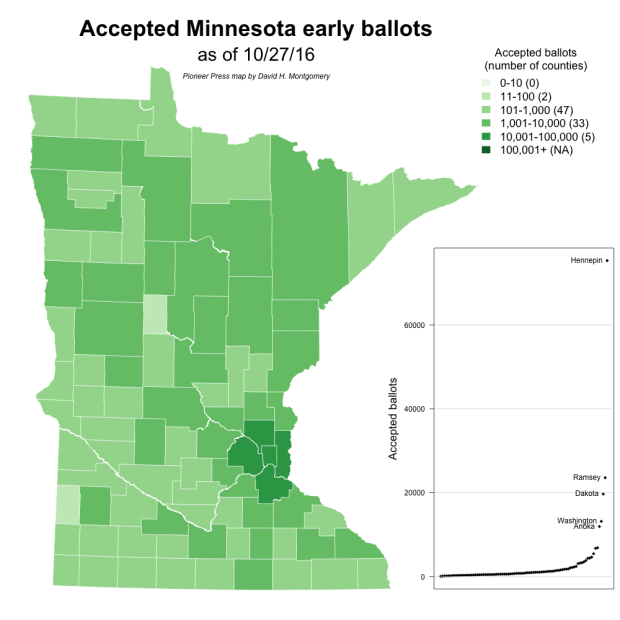 More than a quarter million Minnesotans have cast ballots as of Oct. 27, 1016 (Secretary of State data/Pioneer Press graphic)