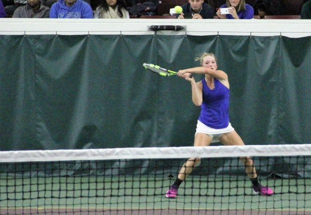 Minnetonka junior Bella Lambert returns a shot during her straight-set victory over Edina junior Sophia Reddy in the Class 2A singles state championship match Friday, Oct. 28 at Baseline Tennis Center. (Pioneer Press: Jace Frederick)