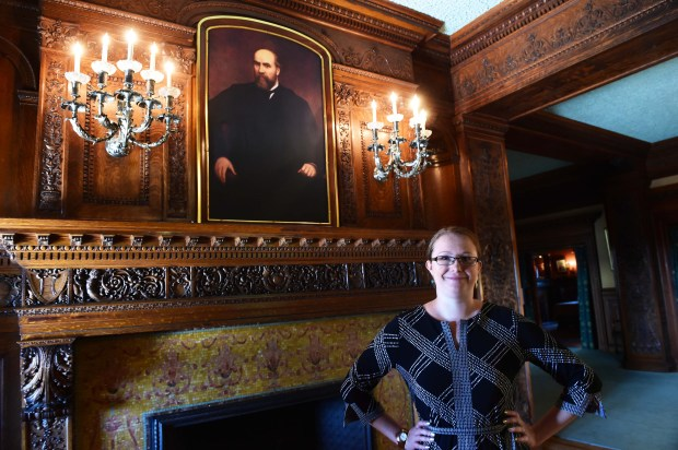 Jessica Sutherland, program director of the James J. Hill House on Summit Avenue in St. Paul, which will hold a Ghost Stories event in the mansion, October 3, 2016. (Pioneer Press: Scott Takushi)