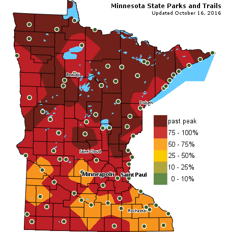 Fall color map from the Minnesota Department of Natural Resources.
