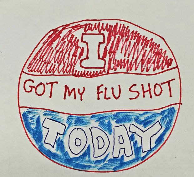"I think that getting vaccinated is as important as voting, so I made myself this sticker, inspired by the ""I voted today"" stickers that American citizens wear on Election Day."