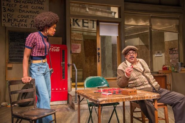"Jasmine Hughes and Lou Bellamy in ""Jitney"" at Penumbra Theatre. (Allen Weeks photo)"