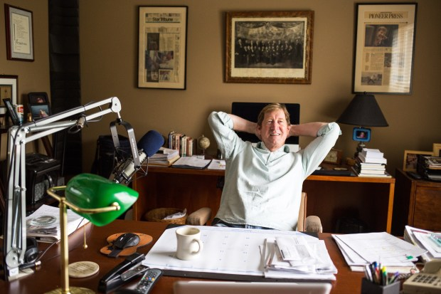 Jason Lewis sits at the office desk where he previously recorded his radio talk show in his Woodbury home on Saturday, Sept. 24, 2016. (Pioneer Press: Liam James Doyle)