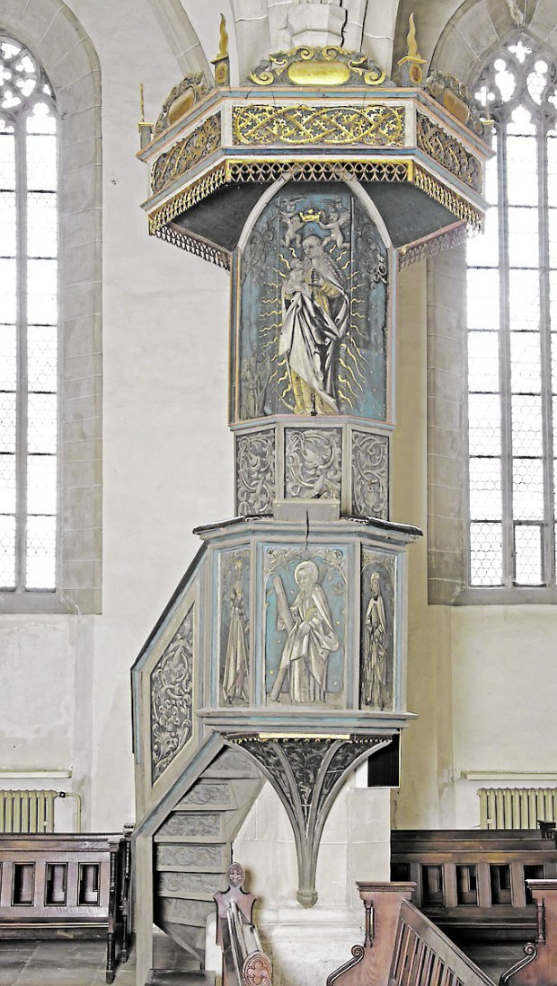This pulpit, part of the Minneapolis Institute of Art's Martin Luther exhibit, was dismantled, analyzed, preserved and shipped to Minnesota. It will return to St. Andrew's Church in Eisleben, Germany, when the exhibit closes Jan. 15. (Evangelical Church of St. Andreas-Nicolai-Petri, Eisleben)