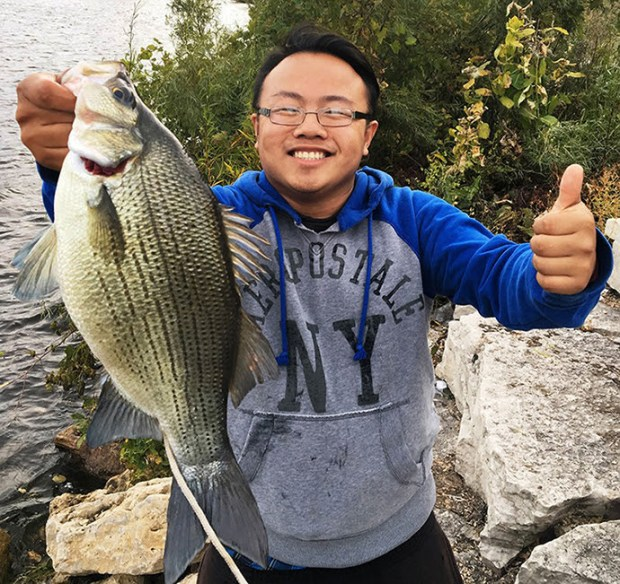 Kanchic Yang of St. Paul caught the state record white bass, by weight, when he snared the fish on Oct. 10, 2016, in Vadnais Lake in Vadnais Heights. (Minnesota Department of Natural Resources)