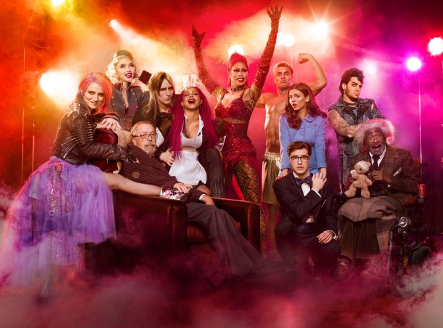 """""""Rocky Horror Picture Show: Let's Do the Time Warp Again"""" stars, from left, Annaleigh Ashford, Ivy Levan, Tim Curry, Reeve Carney, Christina Milian, Laverne Cox, Staz Nair, Victoria Justice, Ryan McCartan, Adam Lambert and Ben Vereen. The show premiers at 9 p.m. Thursday, Oct. 20 on FOX. (Miranda Penn Turin/FOX)"""