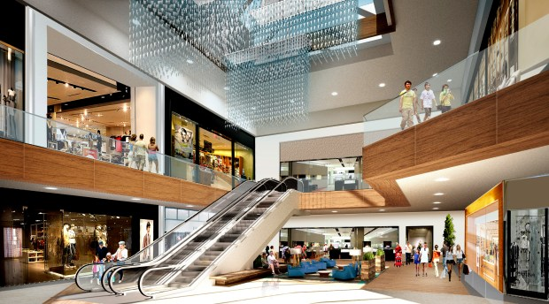 Undated courtesy image showing what Rosedale Center will look like after a renovation and expansion project. On Oct. 3, 2016, Rosedale Center began a major renovation which will include an exterior and interior renovation, paired with new branding and signage. Restrooms, furniture, lighting, and finishes will be refreshed, in addition to the installment of brand new stores. An expansion will add a 125,000-square-foot, two-level Von Maur department store and 21,000 square feet of new shops within a new two-level concourse connecting the existing center to the Von Maur store. The center will be fully operational during the renovation, with the majority of the work being done overnight. The renovation should be complete in time for Christmas shopping in 2017. The Van Maur expansion will start next year, with an anticipated opening date in 2018. Image courtesy of Rosedale Center.