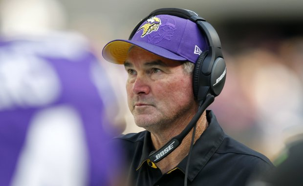 Minnesota Vikings head coach Mike Zimmer watches from the sideline during the second half of an NFL football game against the Houston Texans, Sunday, Oct. 9, 2016, in Minneapolis. (AP Photo/Andy Clayton-King)