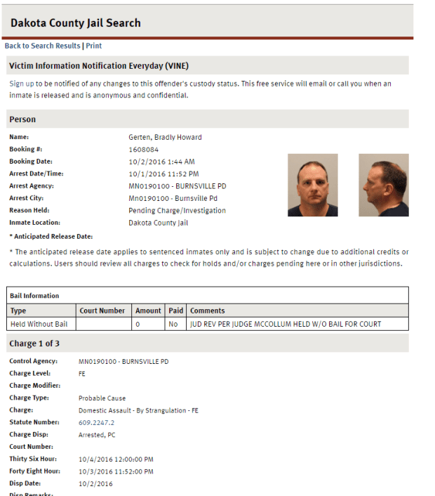 Jail booking information for Bradly Gerten