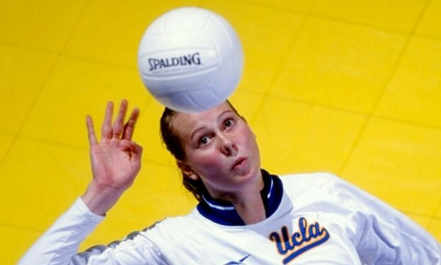 "Olympic volleyball player Elisabeth ""Wiz""Bachman McCutcheon is 38. The former Lakeville High standout is shown taking a shot in 1998 for the UCLA Bruins. (Donald Miralle /Allsport)"