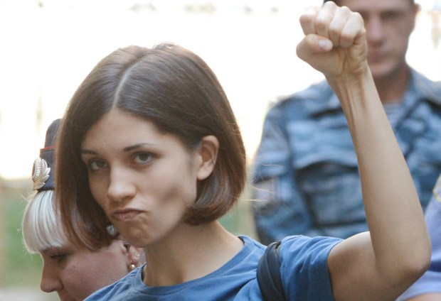 "Nadezhda Tolokonnikova of the band Pussy Riot is 27. She's served time in a Russian prison for ""hooliganism"" offensive to that country's leader, Vladimir Putin. (GettyImages: Natalia Kolesnikova)"