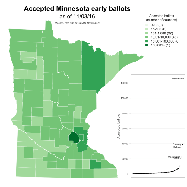 Map of Minnesota absentee and mail ballots accepted, Nov. 3, 2016 (Pioneer Press analysis of Minnesota Secretary of State data)