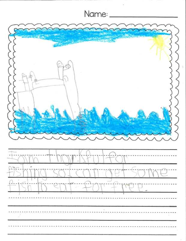 """I am thankful for fishing so I can get some fish to eat for free."" — Liam H., Mendota Heights, Mendota Elementary"