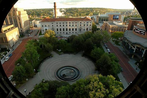 A view of St. Paul's Rice Park, from a south-facing window of the Landmark Center clocktower, shows the downtown St. Paul Library (center back) and the Ordway Center for the Performing Arts at right. (Pioneer Press: Scott Takushi)