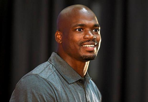 Minnesota Vikings running back Adrian Peterson speaks to a packed house during a news conference at the team's training facility in Eden Prairie on Tuesday, June 2, 2015. (Pioneer Press: Scott Takushi)