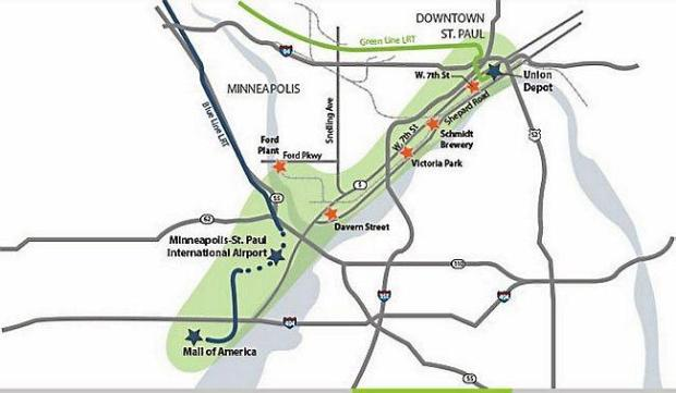 The proposed Riverway Corridor transportation route would connect St. Paul's Union Depot to Minneapolis-St. Paul International Airport and the Mall of America. (Courtesy of RiverviewCorridor.com)