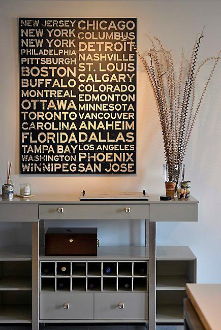 A wall hanging lists all the NHL cities, in the Lowertown St. Paul condo of Mike and Mickey Webb of Carver, who use the space as a weekend home, and who are huge Minnesota Wild hockey fans and season ticket owners, on October 25, 2015. (Pioneer Press: Scott Takushi)