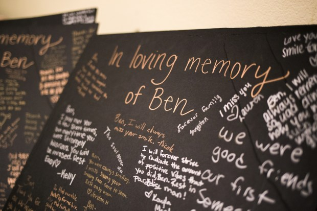 Loving messages were written for Ben Onyeaghala at the 19-year-old's funeral earlier this month. (Pioneer Press: Liam James Doyle)