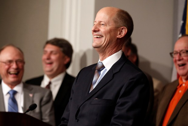 State Senate Majority Leader Paul Gazelka is joined in laughter by Senate Republicans at a question from the media after he was elected, Thursday, Nov. 10, 2016, at the State Capitol in St. Paul, Minn.( AP Photo/Jim Mone)