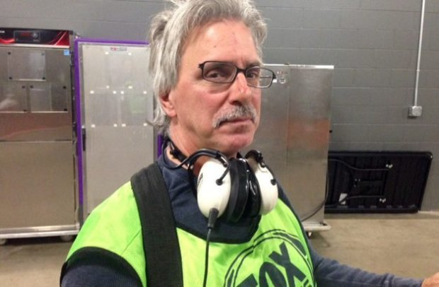Fox audio technician Bernie Beaudry shows off a scraped nose and damaged glasses after he collided with Minnesota Vikings players Sunday, Nov. 20, 2016. (Pioneer Press: Brian Murphy)