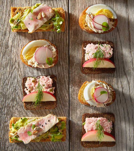 Chowgirls ham salad, ahi-avocado and salmon-dill smorrebrod. (Courtesy of Chowgirls)