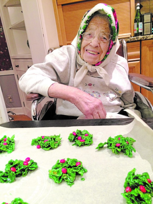 Mary Mentone's mother, Maria Folta, 94, makes cookies for the holidays. (Courtesy of Mary Mentone)