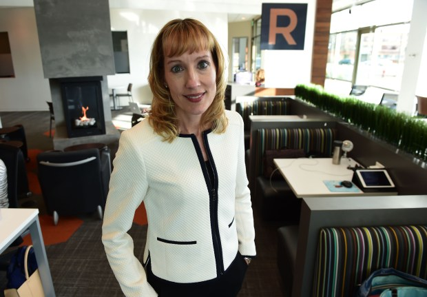 Mary Bartlett, COO of The Reserve, an office-space rental business in Edina, Tuesday, November 15, 2016. The Reserve, based in Edina and opening a branch in Woodbury in February, promotes brain-storming, collaboration and synergy between its customers, by putting desks together in an open room, providing places to get together and collaborate and talk. (Pioneer Press: Scott Takushi)