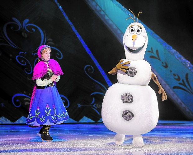 """Frozen's"" Anna and Olaf are just some of the many characters who'll spin across the ice at ""Disney on Ice: Passport to Adventure."" (Courtesy photo)"