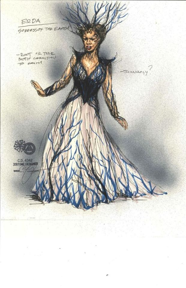 The roots at the bottom of Erda's gown are meant to suggest her connection to nature. (Mathew LeFebvre)