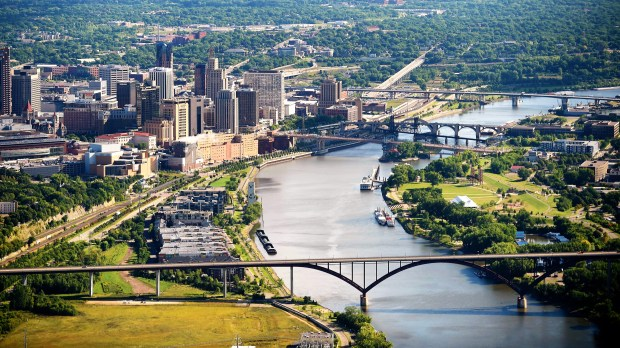 Aerial shot of downtown St. Paul and the Mississippi River on Thursday, August 20, 2015. (Pioneer Press: Scott Takushi)